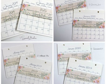 "Replacement Calendar Months for 2019 & 2020 for 5.5""x5"" Desk Calendar 8 Available Fonts"