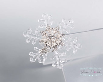 Snowflake Hair Clip, Crystals Wedding Hair Fascinator Hair Head Piece or Brooch Pin. bridesmaids prom winter flowers. Snowflakes Collection