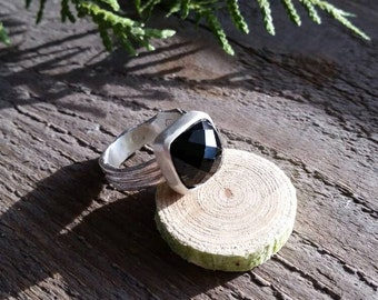 Sterling Silver black Spinel twig ring.Made to order