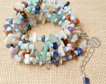 Mixed Gemstone Bohemian Long Rare Spirit Necklace or Wrap Bracelet