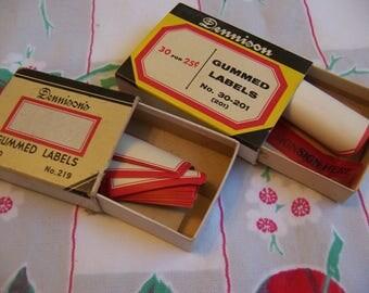 vintage dennison gummed labels