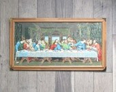 Mid Century Paint-by-Number Painting - Jesus and The Last Supper - Framed with Glass