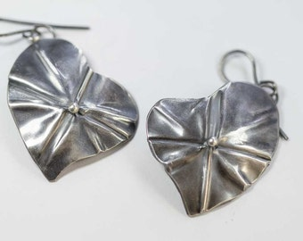Folded Hearts Sterling Silver Dangle Earrings Handcrafted