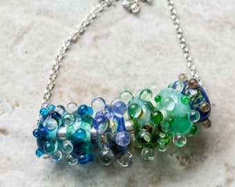 Green Blue Lampwork Bead Necklace with Sterling Silver Handcrafted