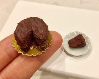 Miniature Dollhouse Chocolate Frosted Cake and slice in 1:12 scale