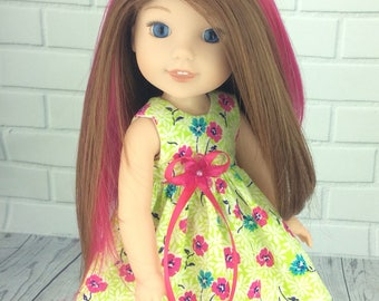 14.5 inch doll clothes - dress fits dolls like wellie wishers doll clothes - Spring dress
