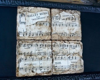 Classical Music Coasters, Ballet Music from Rosamunde by Schubert, re purposed tiles, vintage sheet music, set of four, 4 x 4 inches