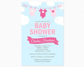 Clothes Line Girl Baby Shower Invitation, Baby Shower Clothes Line Invitations, Sky, Clouds, Pink, Printed or Printable Invitation