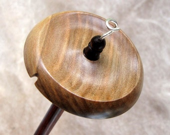Medium size top whorl drop spindle in Blackheart Sassafras and Dymondwood - light weight