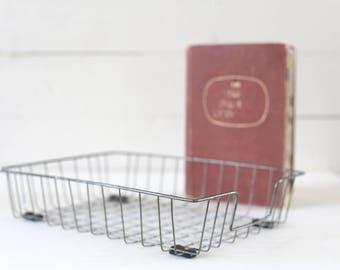 Wire basket vintage file basket vintage paper basket