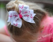 Flamingos - XL Classic bow....photo shoot....Hair bow....large bow....hair clip...headband...hot pink and white