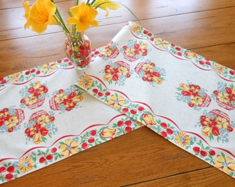 Country Style Vintage Table Runner Red Yellow And Blue Flowers Baskets/Bowls and Cherries