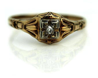Art Deco Engagement Ring .05ctw Antique Diamond Ring 14K Two Tone Rose Gold Vintage Diamond Ring Solitaire Ring Diamond Art Deco Ring!