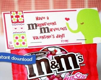 Instant Download Printable M&M Valentine Treat Topper, Pink