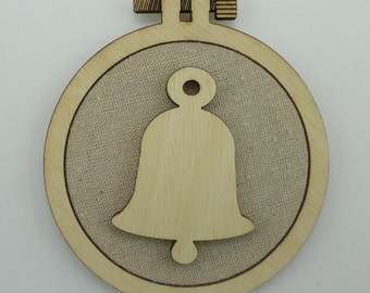 Christmas Bell - Laser cut embroidery hoop with quality textile