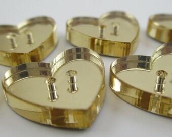 6 pcs Acrylic Heart Buttons - 15mm - Plexiglass Button - Plastic Button - Fashion Scrapbooking sewing - Golden Mirror (BUP001GM)