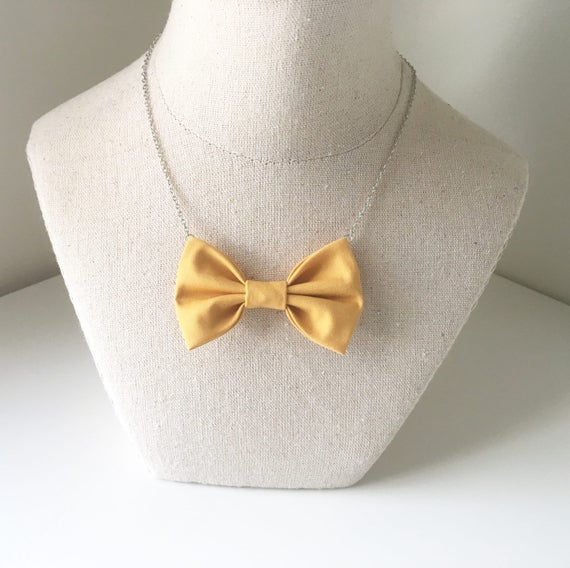 Mustard Yellow - Bow Tie Necklace, Casual Funky Yellow Mustard Bowtie