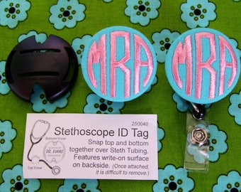 Matching Monogrammed Button Stethoscope Id & Badge Reel/ Name Badge Holder Set by Flowersaks