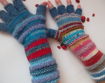 HAND KNITTED GLOVES / Asymmetrical Accessories Mittens Wrist Warmers Women Winter Arm Crochet Half Fingers Gift Multicolored Striped 1224