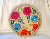 Mexican Hand Painted Wood Bowl Tray Batea Vintage Hand Carved Folk Art 15 Inches