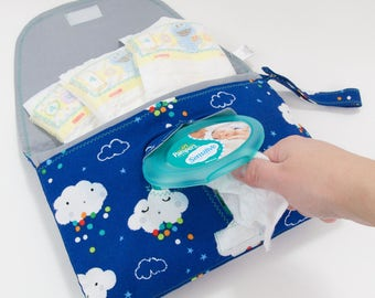 Diaper & Wipe Clutch in Blue Rain Clouds Fabric, Mini Diaper Bag, Diaper Clutch, Nappy Case, Travel Small Diaper Bag, Mini Nappy Bag