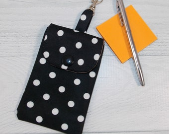 Cutie Pie Pouch • Jujube Duchess • Credit Cards • Chap Stick • Earbuds • Keys • Hand Sanitizer • READY TO SHIP! • Black and White Polka Dots