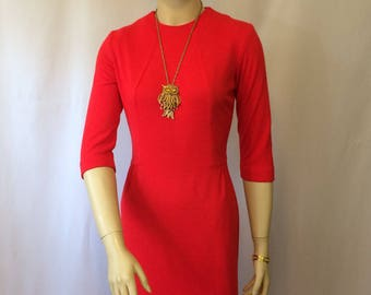 Vintage 1960's Red Knit Wiggle Dress // Ladies Small Jersey Knit Dress//Mad Men Style Retro Dress