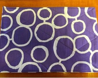 Placemats #09  Lavender and White Placemats, Purple and White Placemats, Reversible Placemats, Placemat Set, Place Mats, 4 Placemat Set,
