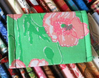 Summer floral ID wallet business card holder recycle reuse vegan cotton fresh green with large pink poppy blooms design