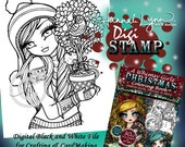 PRINTABLE Digi Stamp Partridge in a Pear Tree Whimsy Girls Christmas Coloring Page Fun Fantasy Art Hannah Lynn