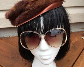 Fur and satin mauve vintage pillbox hat