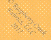 Mustard and White Pin Polka Dot 4 Way Stretch FRENCH TERRY Knit Fabric, Club Fabrics PREORDER