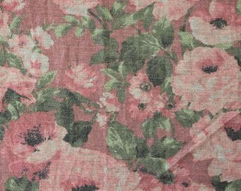 Dusty Pink Green and Grey Floral French Terry Knit Sweatshirt Fabric, 1 Yard