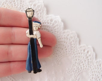 Celluloid Sailor vintage novelty Brooch Pin painted nautical man in uniform tipsy drunk leaning on a lamp post 1930s-40s WWII