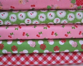 Plaid Cherry Pink Red Fabric by the Yard Sew Cherry Bundle Lori Holt