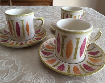 Red Wing Pepe Cups and Saucers - Pepe Design by Red Wing - Mid Century Dinnerware - Modern Dishes - Excellent Condition