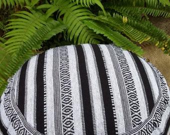 Exotic Peru Hasina Cotton Fabric  Round Buckwheat Hull Meditation Cushion