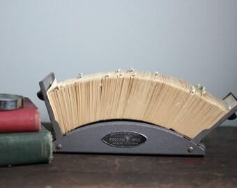 vintage industrial rolodex file / organization, office decor