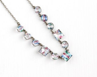 Vintage Art Deco Silver Tone Iris Glass Necklace - 1930s Open Back Rainbow Glass Crystal White Green Pink Blue Stone Unique Costume Jewelry