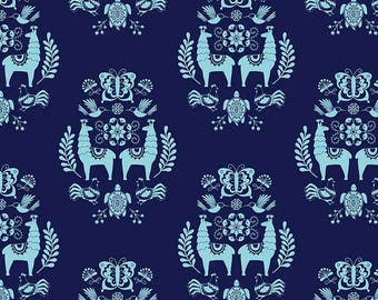 Juxtaposy Medallion Navy Fabric by Riley Blake, Sold by the Yard