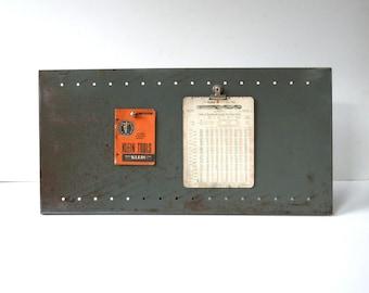 Vintage Industrial Magnetic Metal Bulletin Board / Wall Hanging / Organizer / Waxed Metal / Steel Bulletin Board