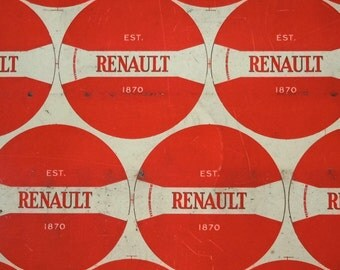 Vintage Printed Tin Renault Button Sheets / Small / Red and White / Renault Tins / Worn Stained Some Scratching / Instant Collection of 6 pc