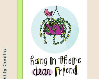 Hang in There, Pun Get Well card, 4 1/4 x 5 1/2 succulent collage art card.