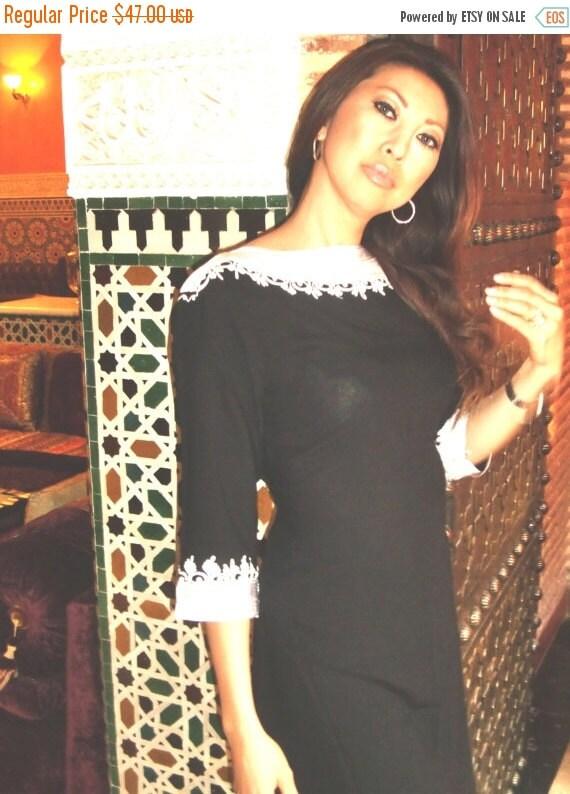 Black Classical Tunic Dress- Reina Style