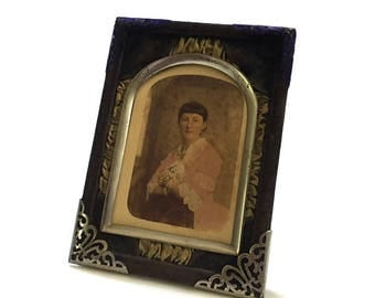 Antique Victorian Velvet & Silk Picture Frame with Cabinet Card