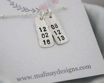 stamped dates necklace | custom stamped dates necklace | mommy necklace | new mom gift | push present | 2 kids birth dates | two kids