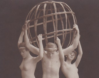 Mature Nude Living Statue Image, German Postcard, circa 1910