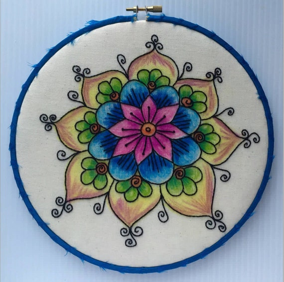 Colorful Painted Flower Hand Embroidered Hoop Art