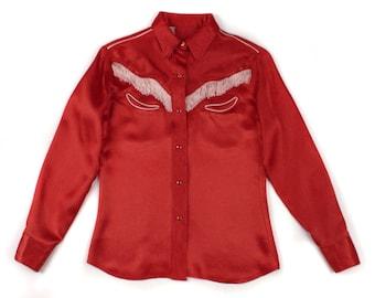 vintage 1960s rockabilly blouse • western red satin fringe shirt