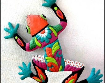 "Frog Wall Hanging, Painted Metal Garden Decor, Outdoor Metal Art, Tropical Design, 34"" Metal Wall Art,  Outdoor Garden Art, 702-OR-34"